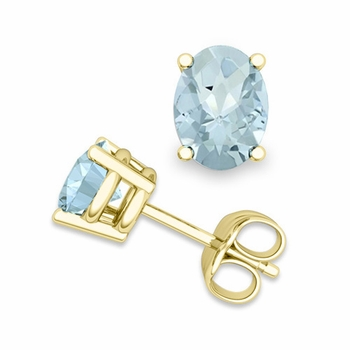 Natural Oval Aquamarine Stud Earrings in 18k Gold 4 Prong Studs, 8x6mm