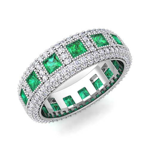 set cut band eternity bands emerald prong ring and diamond