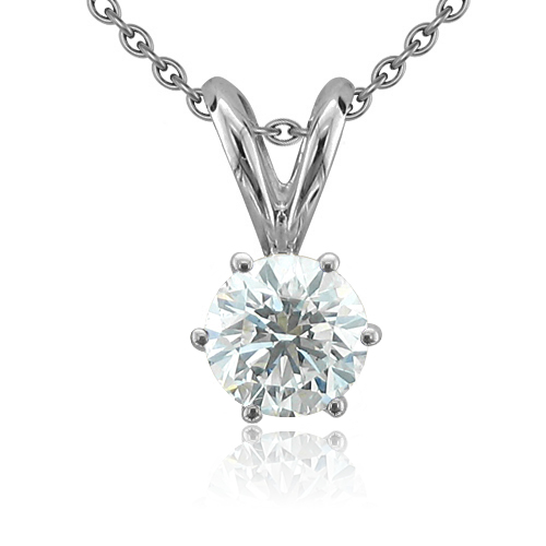 Diamond Solitaire Pendant 6 Prong 14k White Gold Chain