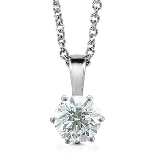Diamond Solitaire Necklace 14k White Gold Chain 6 Prong