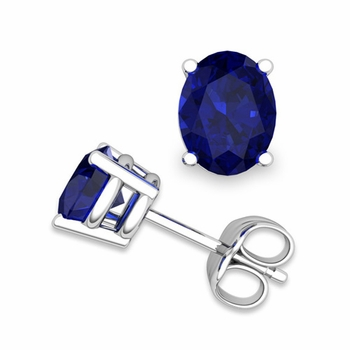 Natural Oval Sapphire Stud Earrings in 14k Gold 4 Prong Studs, 7x5mm