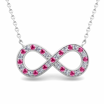 Classic Diamond and Pink Sapphire Necklace in 14k Gold Infinity Pendant