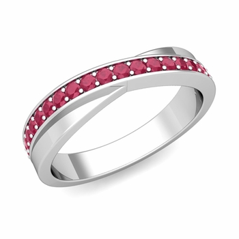 Infinity Ruby Wedding Ring Band in Platinum, 3.8mm