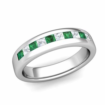 Channel Set Princess Cut Diamond and Emerald Wedding Ring in Platinum, 4.5mm