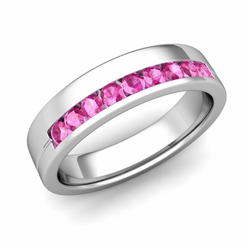 Channel Set Mens Comfort Fit Pink Sapphire Wedding Band in Platinum, 5mm