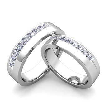 Matching Wedding Bands: Channel Set Diamond Wedding Rings in Platinum