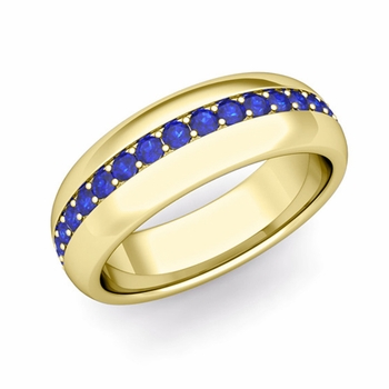 Pave Set Comfort Fit Sapphire Wedding Band Ring in 18k Gold, 5.5mm