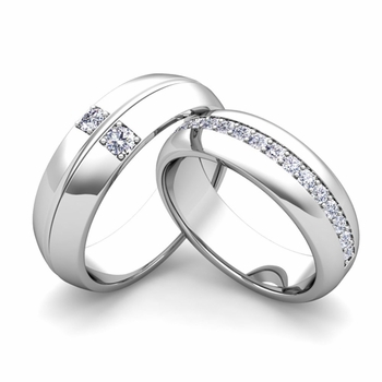 Build Comfort Fit Wedding Bands for Him and Her with Diamond Gemstone