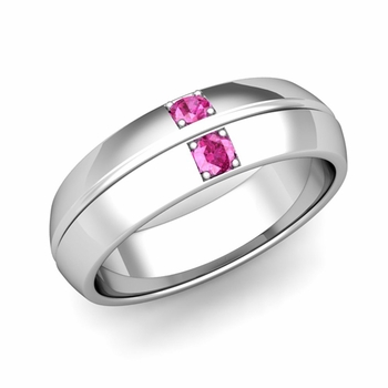 Mens Comfort Fit Pink Sapphire Wedding Band Ring in Platinum, 6mm