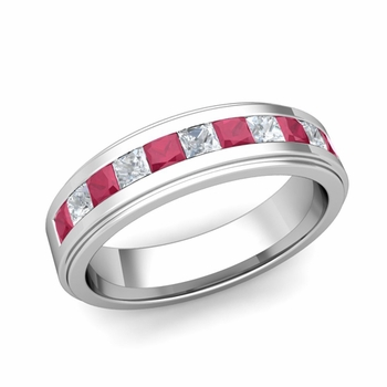 Channel Set Princess Cut Diamond and Ruby Mens Wedding Band in Platinum, 5.5mm