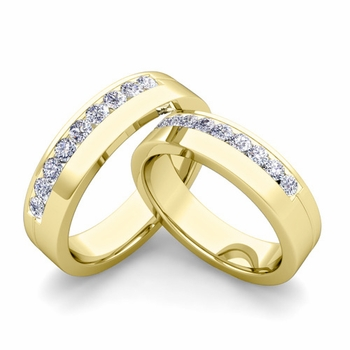 Matching Wedding Bands: Channel Set Diamond Wedding Rings in 18k Gold