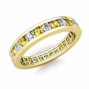 Channel Set Diamond and Yellow Sapphire Eternity Band in 18k Gold