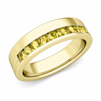 Channel Set Comfort Fit Yellow Sapphire Wedding Ring in 18k Gold, 4mm