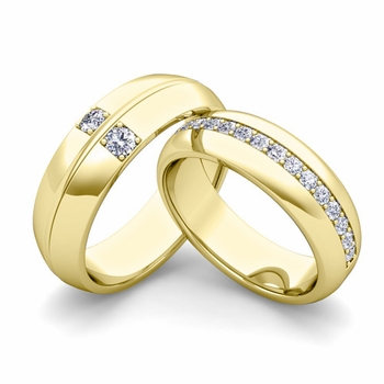 Matching Wedding Ring: Diamond Comfort Fit Wedding Band Set in 18k Gold
