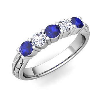 Milgrain Sapphire and Diamond Wedding Band in 14k Gold 5 Stone Ring, 3mm