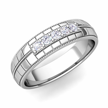 Mens Diamond Wedding Band in Platinum 5 Stone Ring, 5mm