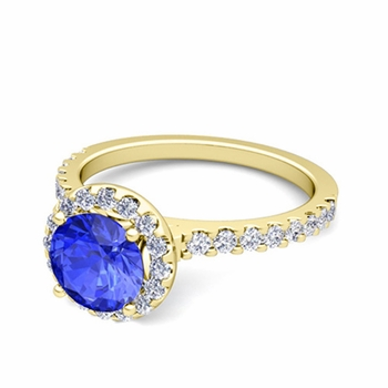 Petite Pave Set Diamond and Ceylon Sapphire Halo Engagement Ring in 18k Gold, 7mm