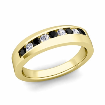 Channel Set Black and White Diamond Wedding Band in 18k Gold, 4mm