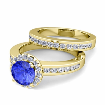 Halo Bridal Set: Diamond and Ceylon Sapphire Engagement Wedding Ring in 18k Gold, 7mm