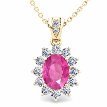 Diamond and Pink Sapphire Necklace in 18k Gold Halo Pendant 8x6mm