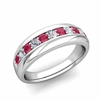 Brilliant Diamond and Ruby Wedding Ring Band in Platinum, 6mm