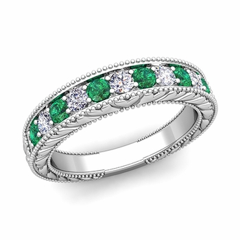 Vintage Inspired Diamond and Emerald Wedding Ring Band in Platinum