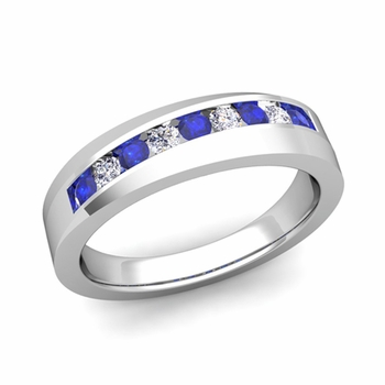 Channel Set Diamond and Sapphire Wedding Band in 14k Gold, 4mm