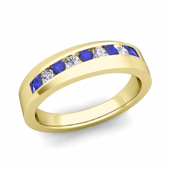 Channel Set Diamond and Sapphire Wedding Band in 18k Gold, 4mm