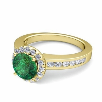 Diamond and Emerald Halo Engagement Ring in 18k Gold Channel Set Ring, 7mm