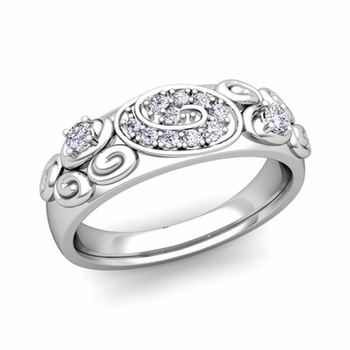 Swirl Diamond Wedding Ring Band in Platinum, 5.5mm