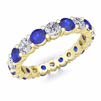 Diamond and Sapphire Eternity Ring Band in 18k Gold