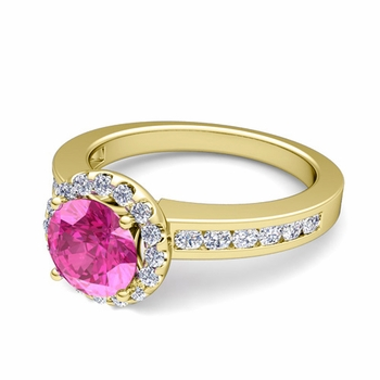 Diamond and Pink Sapphire Halo Engagement Ring in 18k Gold Channel Set Ring, 7mm