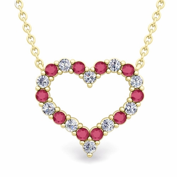 Pave Diamond and Ruby Heart Necklace in 18k Gold Pendant