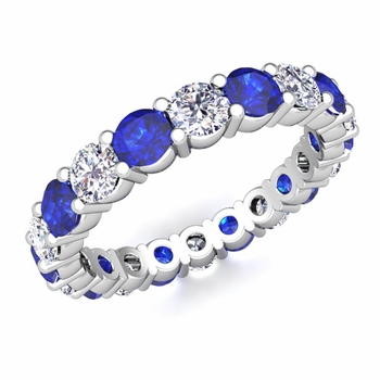 Diamond and Sapphire Eternity Ring Band in Platinum