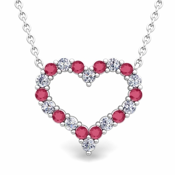Pave Diamond and Ruby Heart Necklace in 14k Gold Pendant