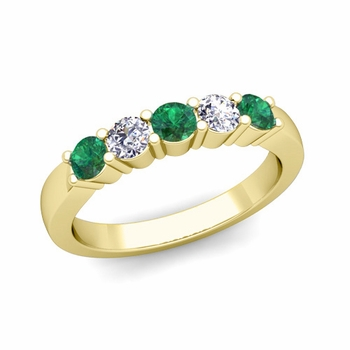 5 Stone Diamond and Emerald Wedding Ring in 18k Gold
