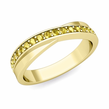 Infinity Yellow Sapphire Wedding Ring Band in 18k Gold, 3.8mm