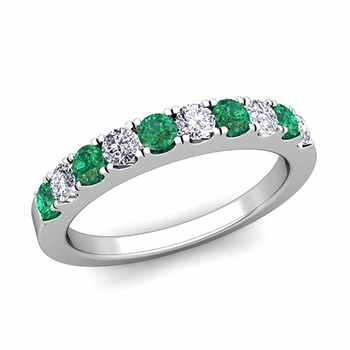 Brilliant Pave Diamond and Emerald Wedding Ring Band in 14k Gold