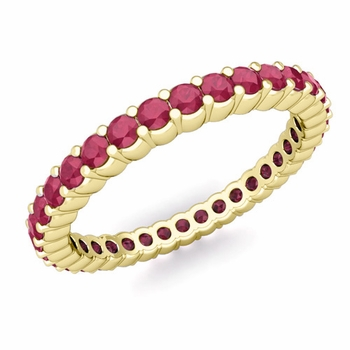 Petite Pave Ruby Eternity Band Ring in 18k Gold