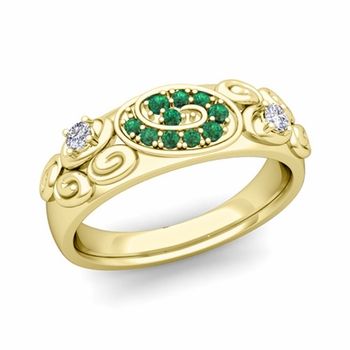 Swirl Diamond and Emerald Wedding Ring Band in 18k Gold, 5.5mm