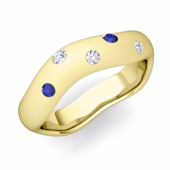 Curved Diamond and Sapphire Wedding Ring in 18k Gold, Satin Finish, 5mm