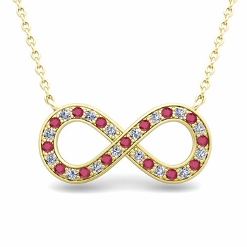 Classic Diamond and Ruby Necklace in 14k Gold Infinity Pendant
