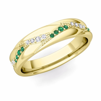 Wave Wedding Band in 18k Gold Diamond and Emerald Ring, 5mm