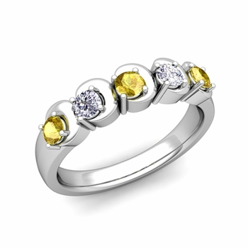 Organica 5 Stone Diamond and Yellow Sapphire Ring in 14k Gold, 3.5mm