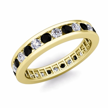 Channel Set Black and White Diamond Eternity Band in 18k Gold