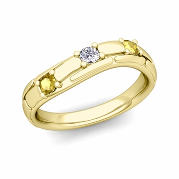 Organica 3 Stone Diamond Yellow Sapphire Wedding Ring in 18k Gold, 3mm