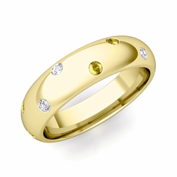 Scattered Yellow Sapphire and Diamond Wedding Eternity Band in 18k Gold, 5mm