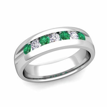 Channel Set Diamond and Emerald Mens Wedding Band in Platinum Comfort Fit Ring, 6mm