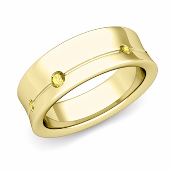 Flush Set Yellow Sapphire Wedding Band Ring in 18k Gold, 5mm