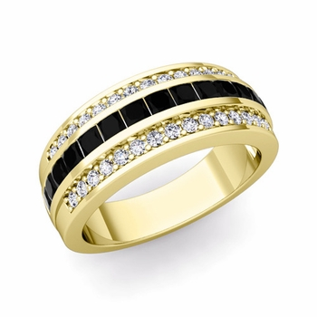 Princess Cut Black Diamond and Pave Diamond Wedding Ring in 18k Gold, 7mm